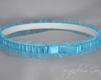 Demi Wedding Garter in Turquoise with Tailored Bow