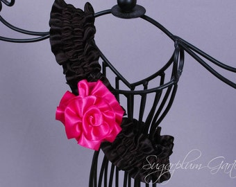 Wedding Garter in Hot Pink and Black Satin with Handmade Rose