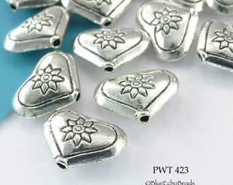 15mm Pewter Beads, Heart with Flower (PWT 423) 10 pcs BlueEchoBeads