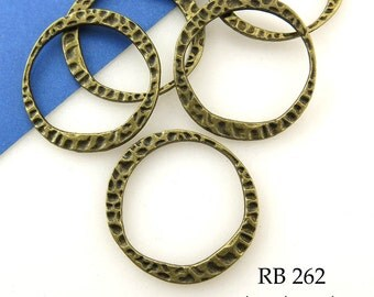Hammered Round Antique Brass Antique Bronze Connector Link Large 24mm Closed (RB 262) blueecho 6 pcs