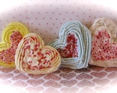 "Heart Fake Cookies ""Puffy Heart Patisserie Cookie Collection"" Set of 4 Large Cookies Fab Photo Props, Cake Plate Decor"