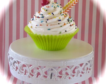 """Fake Cupcake 1 Jumbo Size White Iced Cupcake """"Candy Land Chevron Collection"""" Perfect Photography Props, Business Card Holders"""