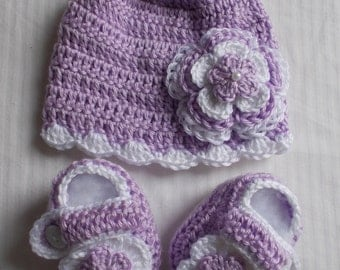 Crochet Baby Infant Girl Hat Beanie Booties Photo Prop Shower Gift  10004 MADE TO ORDER