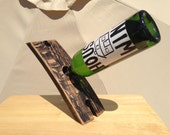 Wine Bottle Balancer and Glasss Holder butler made from Reclaimed / Upcycled / Recycled Oak Wine Barrel Stave Black and Tan
