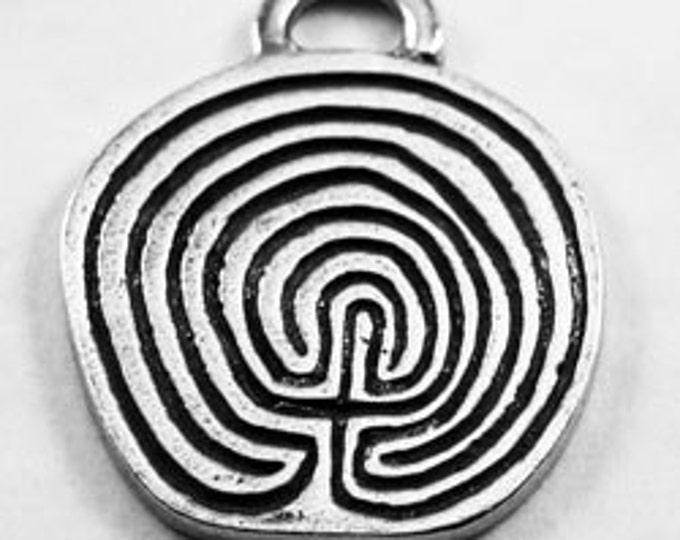 2 x Labyrinth or maze  Australian pewter necklace pendant r412