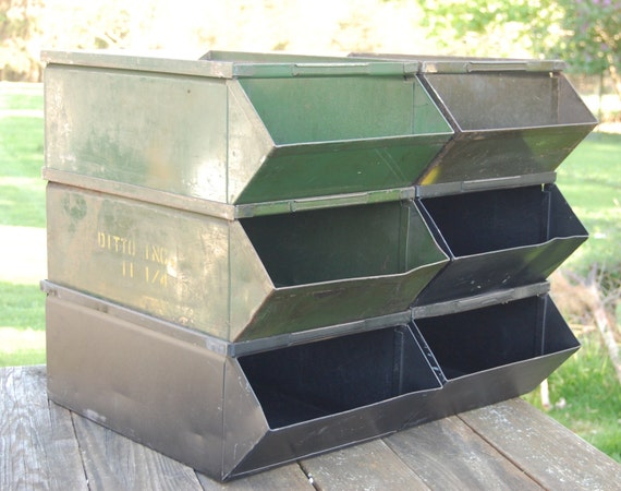 Large Industrial Metal Stacking Storage Parts Bins Reserved