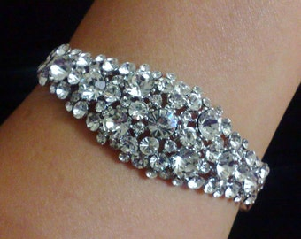 Swarovski Bridal Bracelet, Art Deco Wedding Bracelet, Crystal Cluster Bracelet, Statement Bridal Jewelry, Silver Wedding Jewelry, NECKTIE