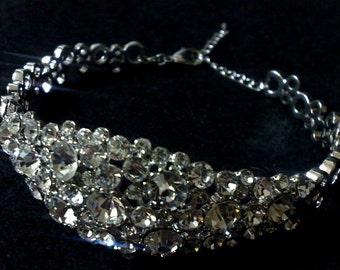 Crystal Bridal Bracelet, Art Deco Wedding Bracelet, Gatsby Bracelet, Bridal Jewelry, Swarovski Wedding Jewelry, Statement Bracelet, NECKTIE