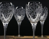 Four Wine Glasses Hand Engraved 'Tree Of Love' Wedding Party Gift Tree Branch Bar ware