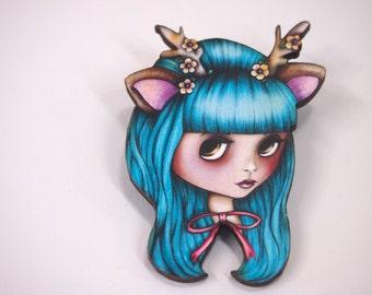 Turquoise Deer Antlers Blythe Doll Girl Laser Cut Wood Brooch