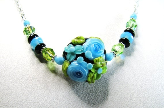 Blue Floral Lampwork Necklace