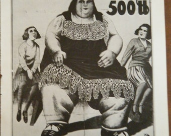 Vintage Circus Poster Herta the Fat Lady Black and White Poster Size Book Plate