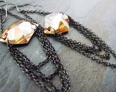 SULTRY-Golden Flat Back Swarovski Crystals and Gunmetal Chain Earrings