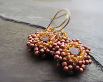 TOPAZ-Topaz Swarovski Crystal with Brown & Amber Seed Bead Drop Earrings