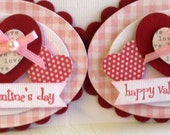 Sweet Valentine's Day Embellishments - Set of 2 heart tags -