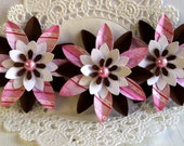 Set of 3 Paper Flowers - Pink Sparkle and Brown -
