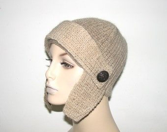 Brioche Rib Knit Alpaca Wool Aviators Hat/Helmet with Antique Military Buttons - Ready to Ship
