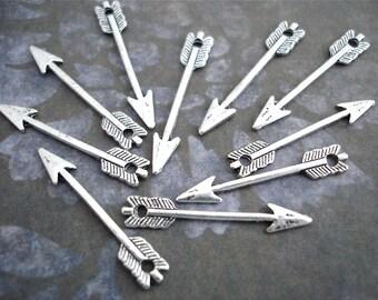 Silver Arrow Charms Pendants Antiqued