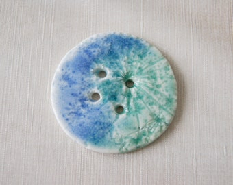 Blue and Turquoise Ceramic Button - Handmade Extra Large Button - Porcelain Button