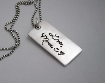 Memorial Jewelry Your Actual Loved One Hand Writing Made into a 2 Sided Fine Silver Pendant Necklace