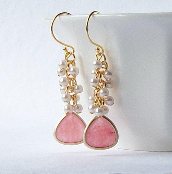 LAST ONE Pink Pearl Cluster Earrings