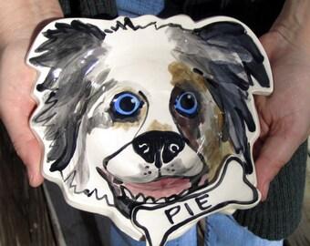 Custom portrait Dog Bowl personalized free any dog pottery dish small