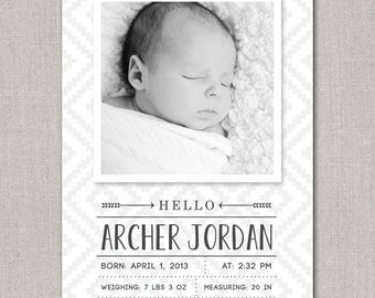 Baby Boy Birth Announcement - Archer