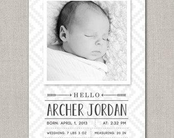 Baby Boy Birth Announcement - Archer