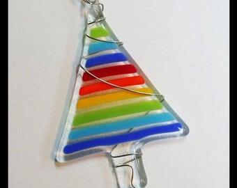 Glassworks Northwest - Rainbow Tree - Fused Glass Ornament