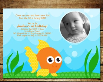 O FISHY...Custom Birthday Invitation...by KM Thomas Designs