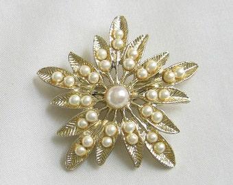 Vintage Floral Motif Faux Pearl Brooch