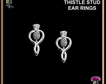Scottish Thistle Drop Stud Earrings - Sterling Silver