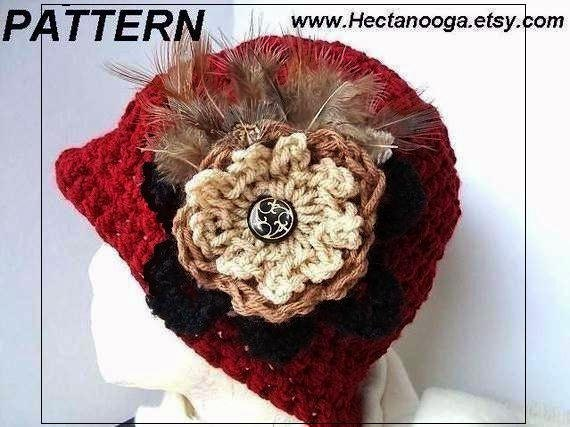 Hat Patterns, PDF 9, CROCHET PATTERN, hat, French Cloche with a Feather Brooch, adults, women, ladies, teens, 60 minute wonder.