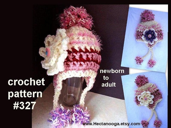 Crochet Pattern Hat, hat crochet pattern, crochet hat,  num 327 Ear flap hat,  newborn baby to adult, ok to sell your finished items.