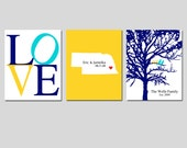 Wedding Gift - Modern Newlywed Trio - Set of Three 8x10 Customizable Prints - Love, Family Established Bird Tree, Love State Map