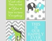 Nursery Art Quad - First We Had Each Other, Polka Dot Elephant Family, Our Happily Ever After, Chevron Giraffes - Set of Four 8x10 Prints