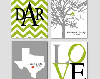 Family Tree Established Love Chevron Monogram State Silhouette Home - Set of Four 8x10 Custom Prints - GREAT WEDDING GIFT