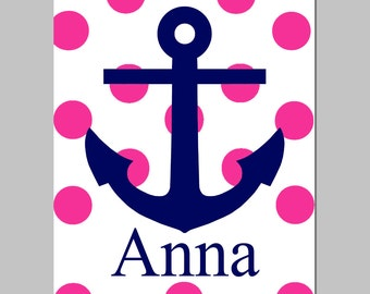 Nautical Polka Dot Anchor Name - Kids Wall Art or Nursery - 8x10 Print - Beach, Sailing - CHOOSE YOUR COLORS