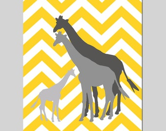 Giraffe Family Nursery Art - 8x10 Chevron Zig Zag Print - Kids Wall Art - Boy or Girl - CHOOSE YOUR COLORS