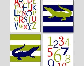 Boy Nursery Art Alligator Alphabet Nursery Decor Quad - Set of Four 8x10 Prints - Alphabet, Numbers, Striped Alligators - CHOOSE YOUR COLORS