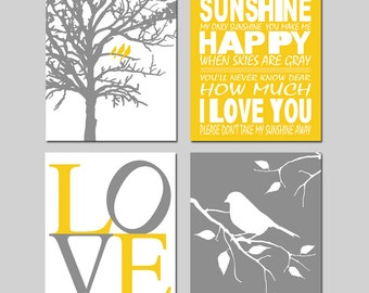 Golden Yellow Gray Nursery Art Quad - You Are My Sunshine, LOVE, Birds in a Tree, Bird on a Branch - Set of Four 11x14 Prints - Not a Peep