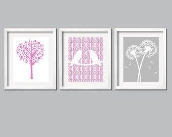 Dahlia Nursery Art Trio - Set of Three 8x10 Prints - Love Birds, Tree Dot, Dandelion Floral - Choose Your Colors
