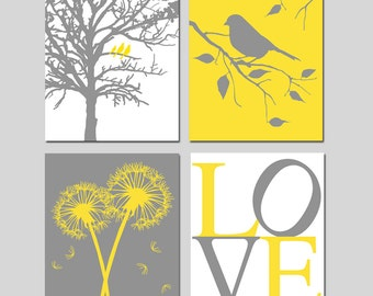 Yellow Gray Grey Nursery Art - Birds in a Tree, Dandelions Floral, Bird on a Branch, Love - Set of Four 8x10 Prints - CHOOSE YOUR COLORS