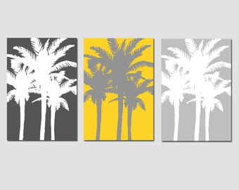 Modern Palm Tree Silhouette Trio - Set of Three Large Scale 11x17 Coordinating Prints - CHOOSE YOUR COLORS - Shown in Yellow and Gray