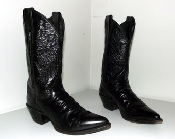 Black on Black Leather Western Cowboy Boots size 5.5 B