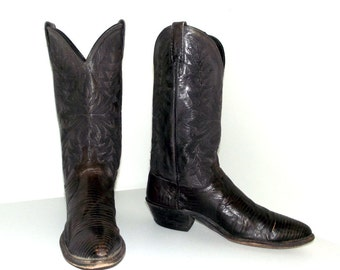 Vintage Dan Post Grey leather and lizard cowboy boots size 9 D or cowgirl size 10.5