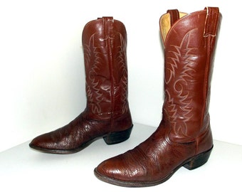 Nocona cowboy boots with classic stitched design-  brown size 10.5 D or Cowgirl size 12