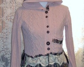 SALE- Funky, Pink Sweater Hoodie, Upcycled,Reconstructed, Refashioned,