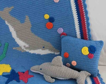 Dolphin Afghan Pillow & Toy Crochet Pattern PDF