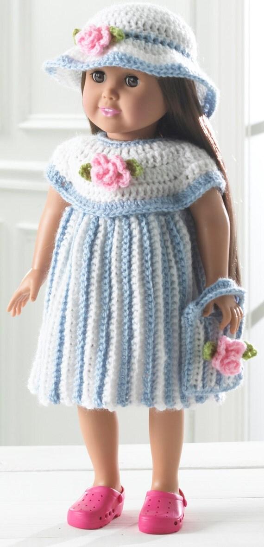 Crochet Dress Up Doll Pattern : Little Miss Rosalie 18 Inch Doll Outfit Crochet Pattern PDF